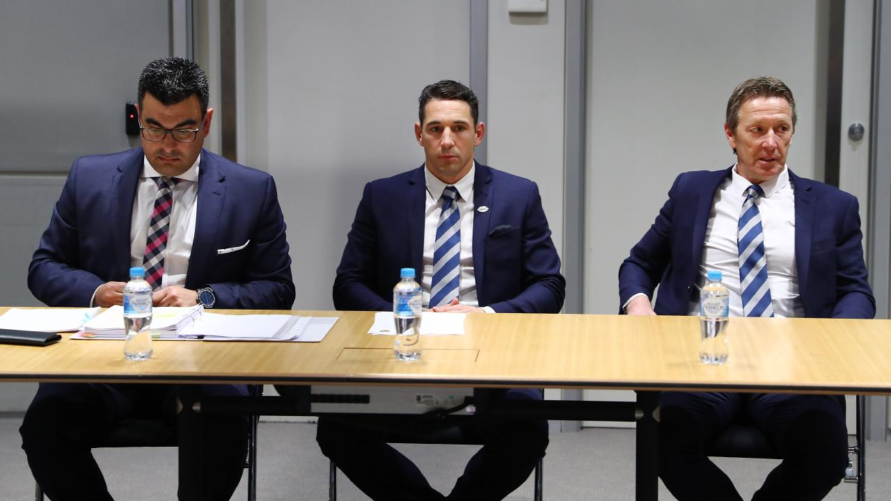 Melbourne Storm fullback Billy Slater (centre) with coach Craig Bellamy (right) at the NRL judiciary. Picture: John Feder/The Australian.