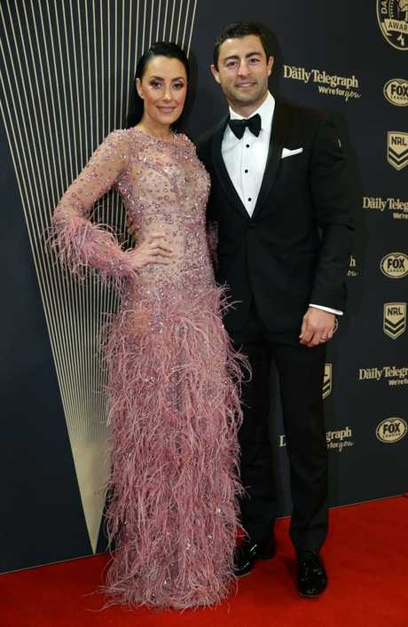 Anthony Minichiello and Terry Biviano on the red carpet at the 2018 Dally M Awards. Picture: Jonathan Ng