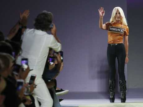 Donatella Versace presented Versace's 2019 spring-summer collection in Milan last week. Picture: AP