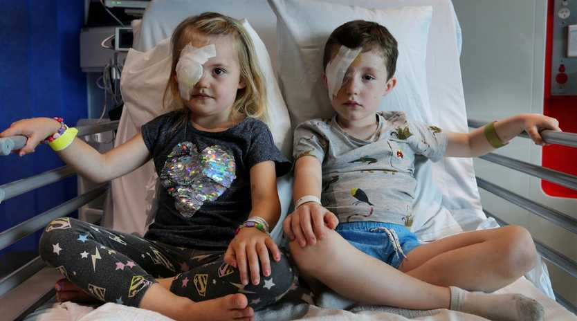 Indi, 4 and Finn Kelly, 5 at Perth Children's Hospital after sustaining eye injuries in magpie attacks in the City of Stirling suburb of Trigg at the weekend. Picture: Nic Ellis/Westpix