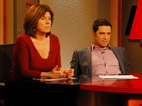 Caroline Wilson and Garry Lyon on the old set of Footy Classified.
