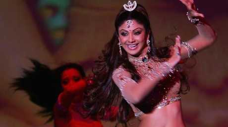 Actress Shilpa Shetty performs on stage during the Miss Bollywood musical preview in Berlin, Germany. Picture: Getty