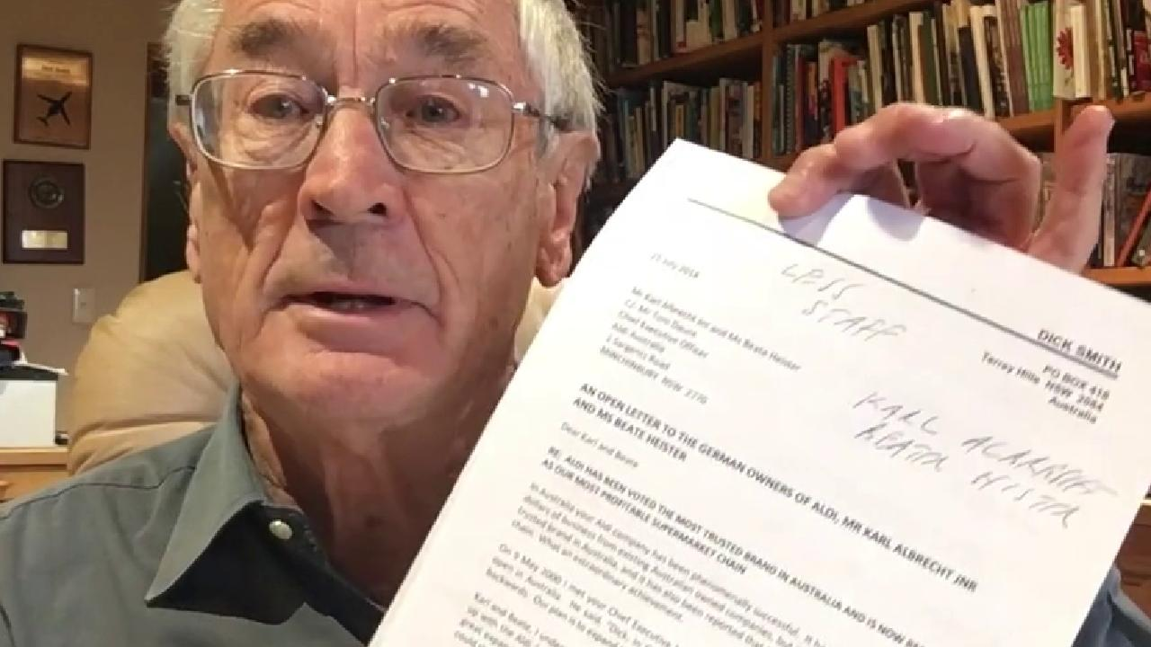 The letter Dick Smith wrote to Aldi's owners.