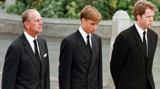 Prince Philip, Prince William and Earl Spencer walking behind Diana's coffin. Picture: AFP