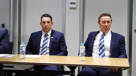 Billy Slater sits with coach Craig Bellamy during the three-hour NRL judiciary hearing on Tuesday night. Picture: John Feder/The Australian