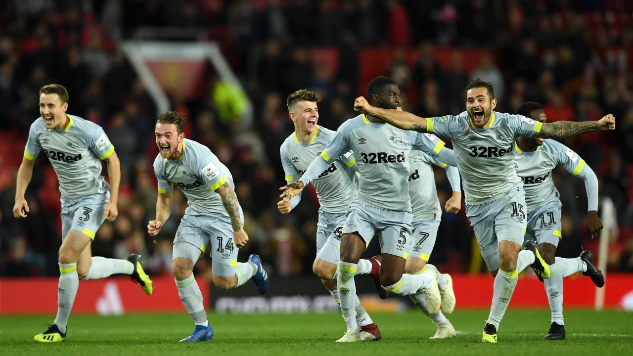 Derby County celebrate the win. Picture: Getty