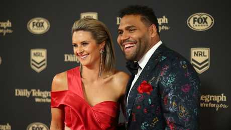 Sam Thaiday and wife Rachel. Picture: Cameron Spencer
