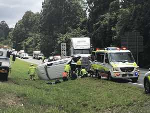 Couple hurt after 4WD rolls on Bruce Hwy, lane closed