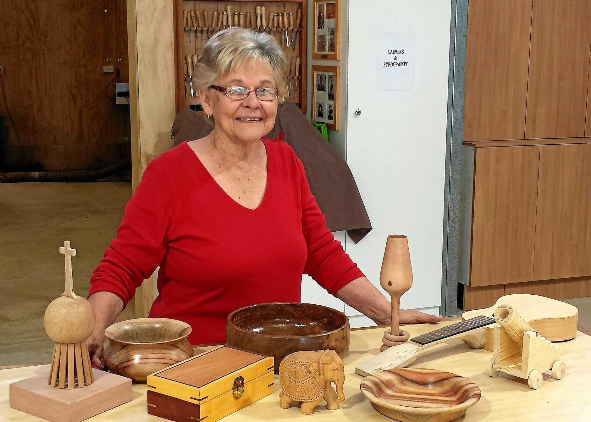 CREATIVE WORK: Caloundra Woodworking Club president Lola Kerlin.
