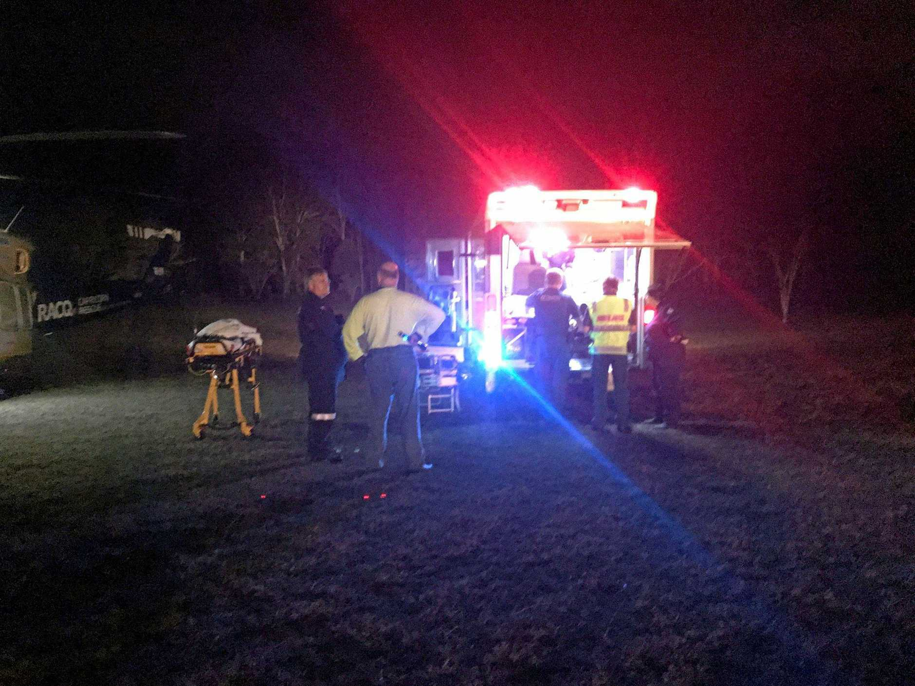 RACQ Capricorn Helicopter Rescue Service flew a man in his 50s to Rockhampton Hospital after he was involved in a crash at the Boyne Valley last night.