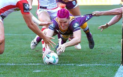 FIRST TRY: Chelsea Baker's try against St George Illawarra Dragons won her the NRLW Women's Try of the Year.