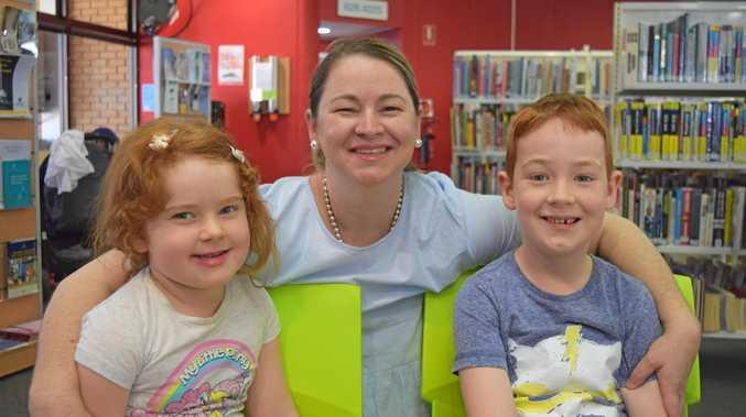CRAFTY: Leanne Spencer with her children Arabella and Jack at the Biloela Library.