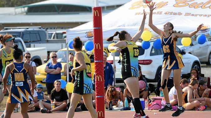 Hervey Bay netball Division 1 grand final - Bullets Boscia v Breakaways Titans. Breakaways goal defence Taylah Stegar and Bullets goal shooter Isabelle Baumanis contest the ball.
