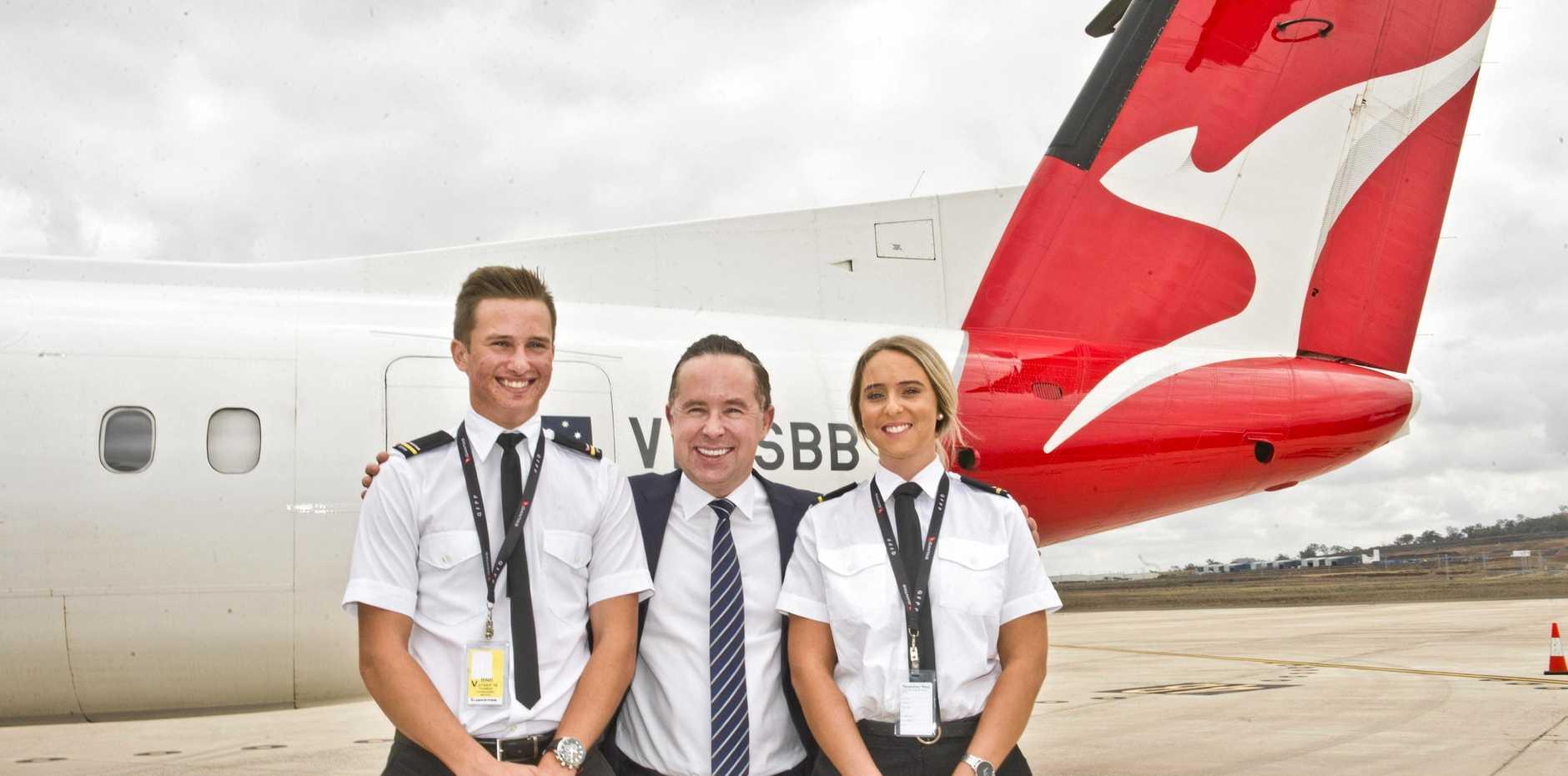 ( From left ) Tom Fanshaw, Qantas CEO Alan Joyce and Kimberley Pike. Qantas pilot training academy announced for Wellcamp airport. Thursday, 27th Sep, 2018.