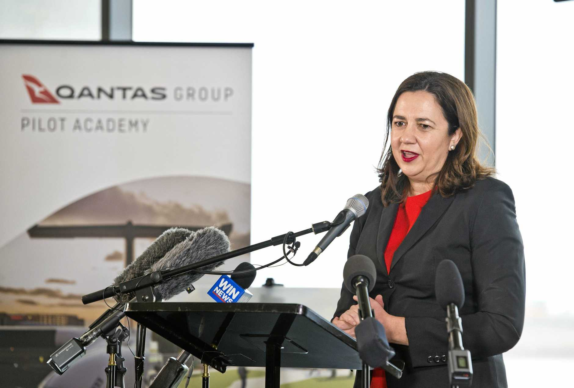Qld Premier Annastacia Palaszczuk. Qantas pilot training academy announced for Wellcamp airport. Thursday, 27th Sep, 2018.