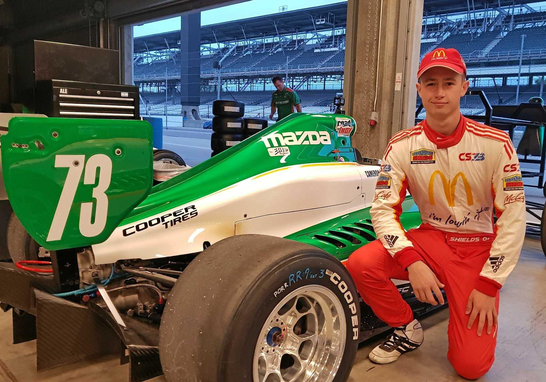 Toowoomba's Cameron Shields has set his sights on IndyCar racing after testing for Juncos Racing at the Indianapolis Motor Speedway.