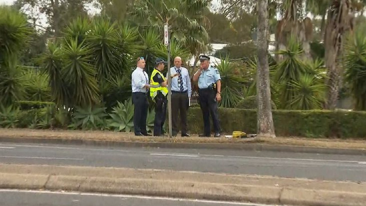 A police officer has been hit by a suspected stolen car at the Ipswich suburb of Booval. Picture: 9 News