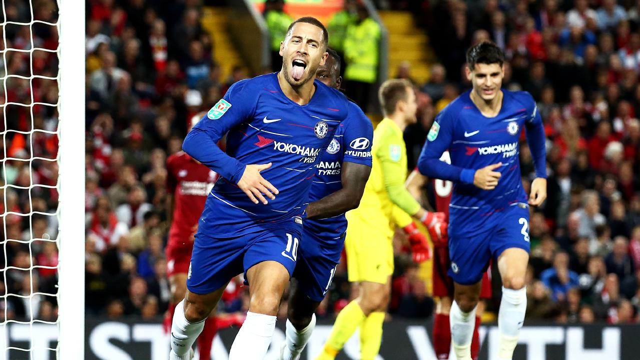 Eden Hazard of Chelsea celebrates after he scores his sides second goal