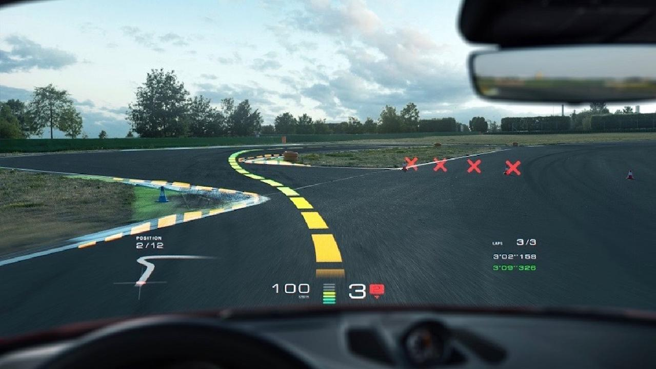 Porsche WayRay augmented reality overlays directions onto the road.