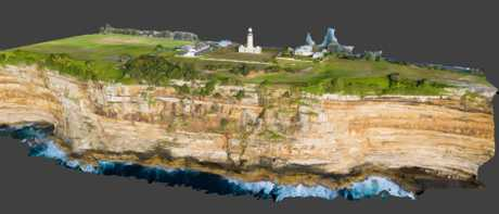 Screengrab of the 3D map of the Macquarie Lighthouse cliff face, in which the secret WWII tunnel was constructed. Picture: Pedestal 3D