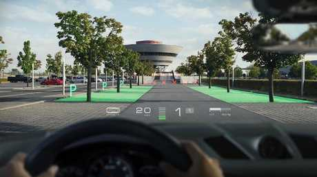 WayRay's augmented reality technology can display parking information.