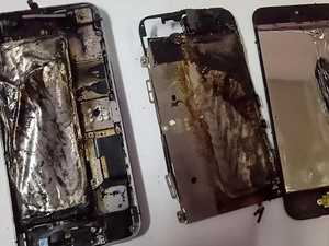 iPhone sets woman's bed alight