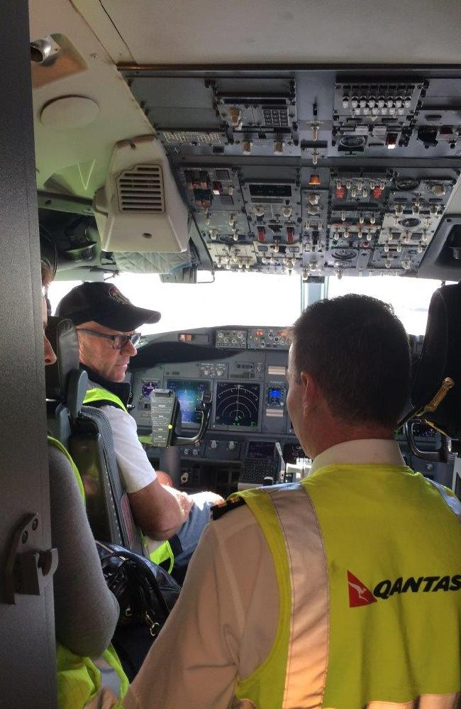 Meeting Qantas captains during the Fearless Flyers course. Picture: Niall Seewang