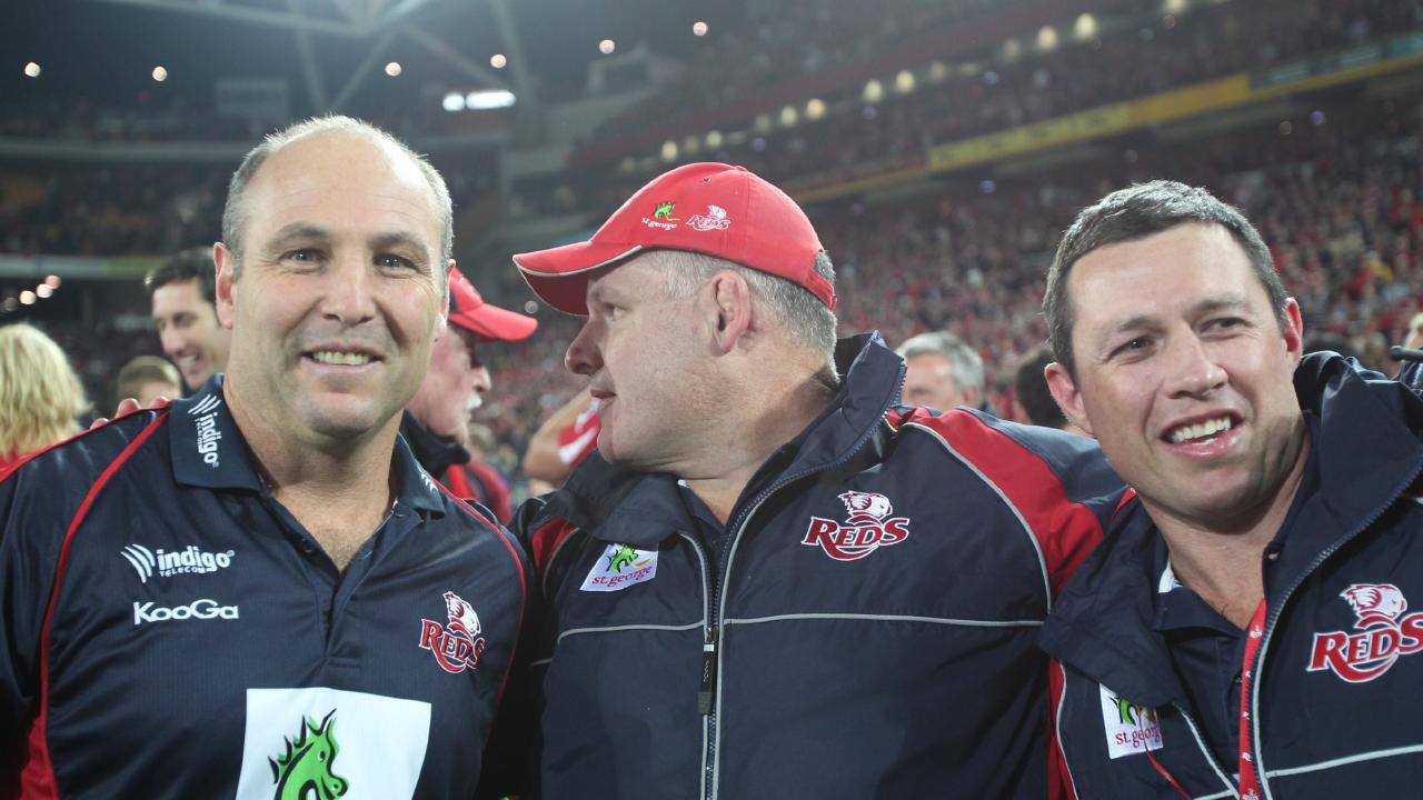 Jim McKay celebrates winning the 2011 Super Rugby title with Ewen McKenzie.