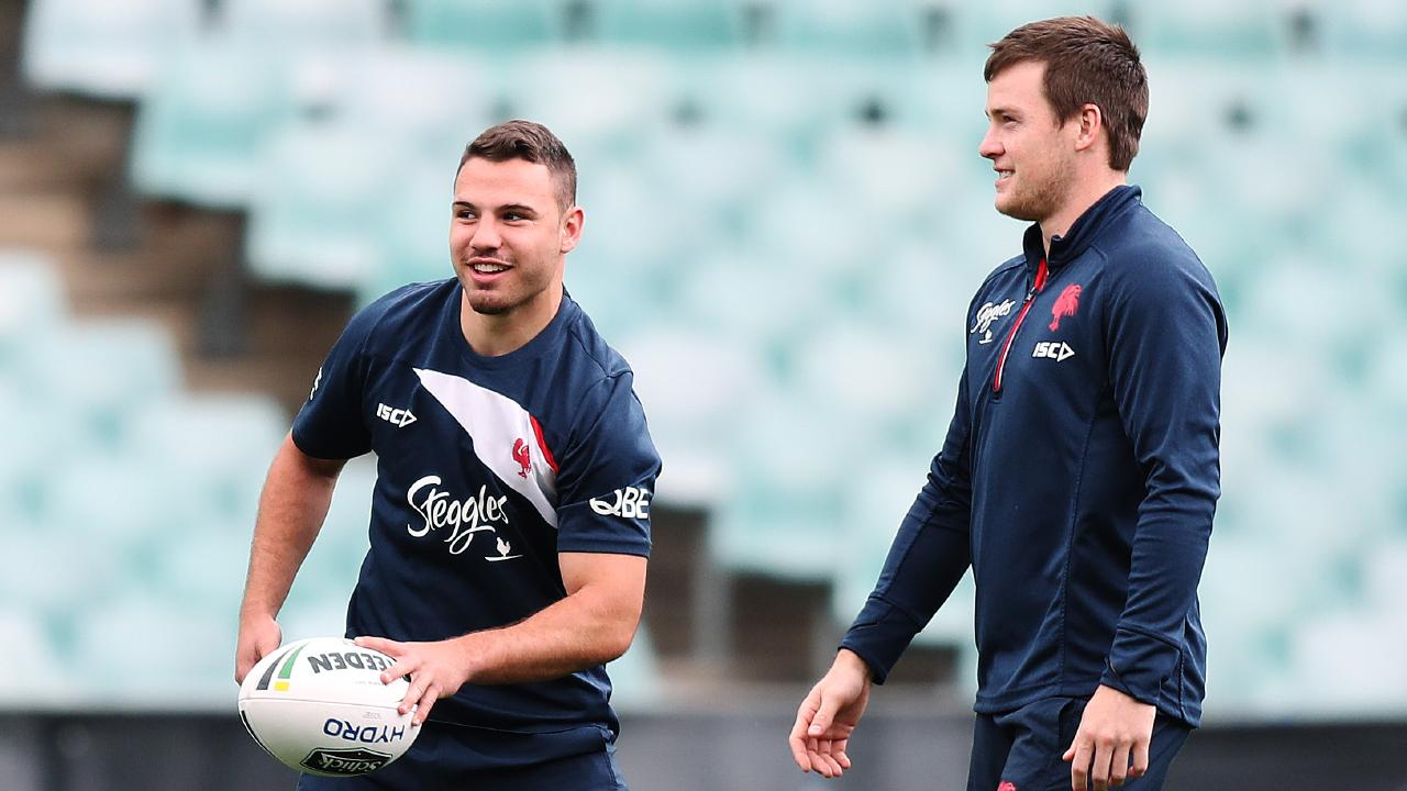Roosters Sean O'Sullivan with Luke Keary during the Sydney Roosters training session at Allianz Stadium ahead of the 2018 NRL Grand Final. Picture: Brett Costello