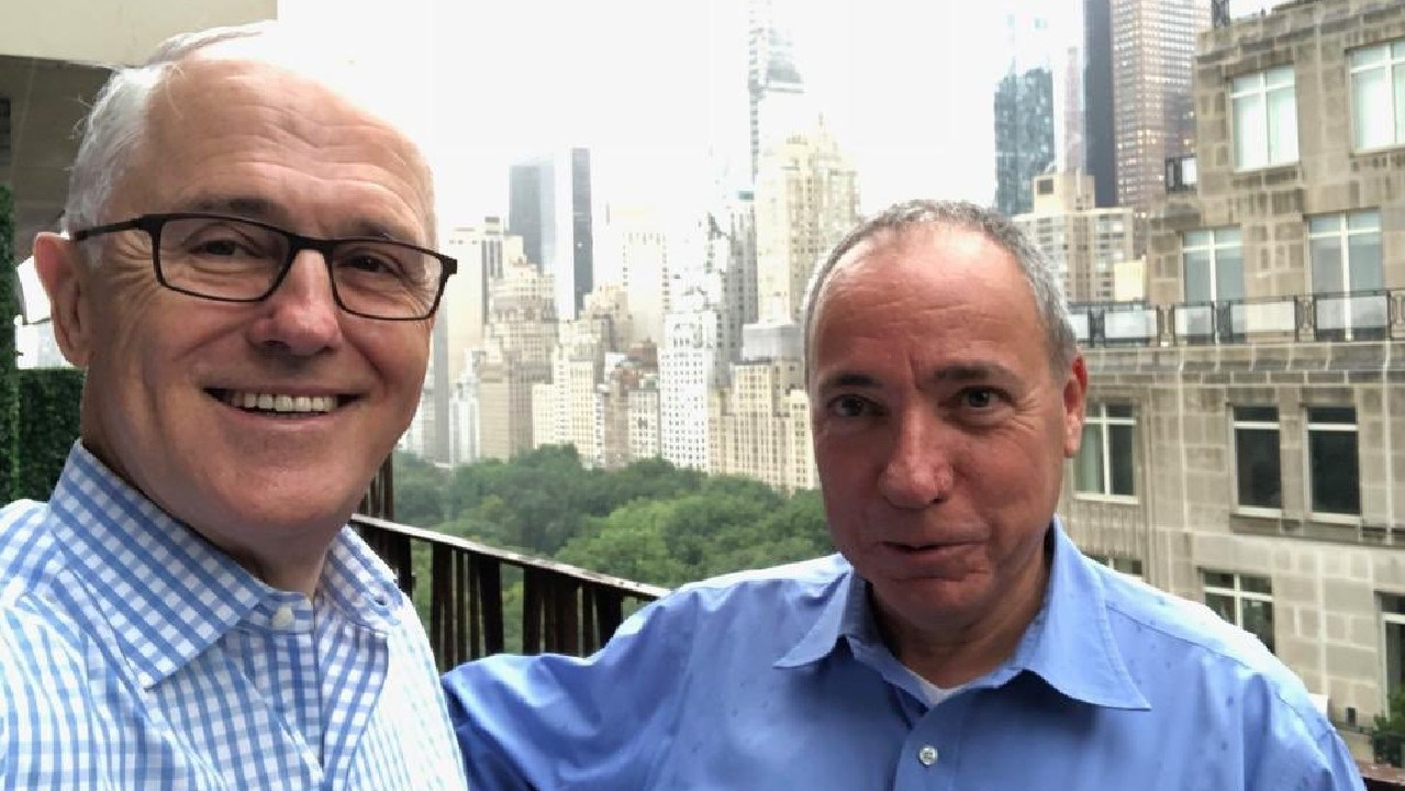 Former prime minister Malcolm Turnbull pictured in New York with Israel foreign affairs director-general Yuval Rotem.