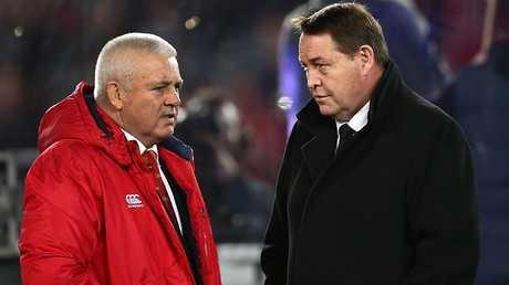 Lions coach Warren Gatland and All Blacks coach Steve Hansen chat at Eden Park.