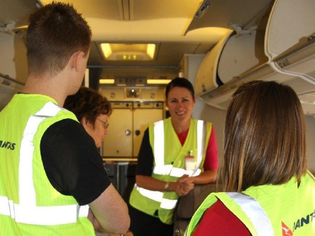 Qantas flight attendants on hand. Picture: Niall Seewang