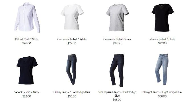 Some of the basic clothing items you can buy from Zozo — prices are in US dollars.
