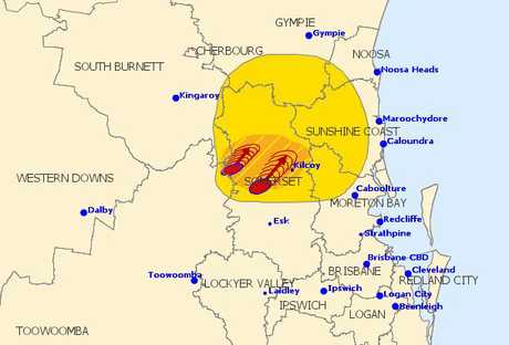 A severe thunderstorm warning activated at 1.50pm.