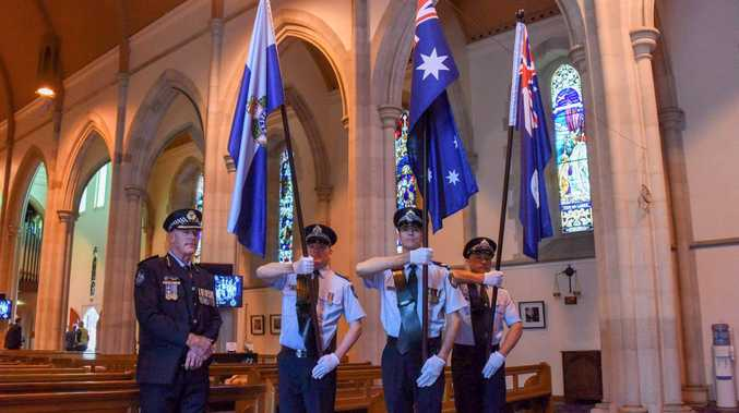 ON DUTY: Inspector Stephen Angus with Sergeant Christaan Buitendach, Senior Constable Matthew Argus and Constable Chris Barron at the Toowoomba service.