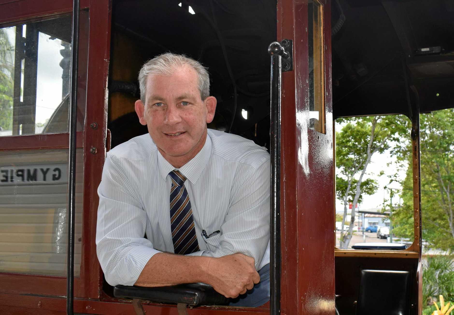 Mayor Mick Curran at Rattler return launch.