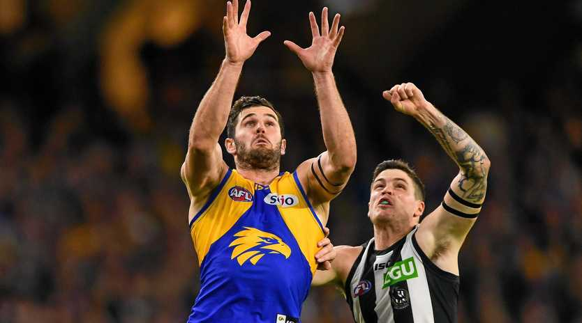 The Eagle's Jack Darling rises for a mark in the qualifying final against Collingwood in Perth on September 08.