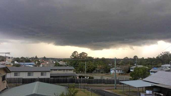 The storm converging over Gympie that delivered hail, rain and some wild wind late Thursday.