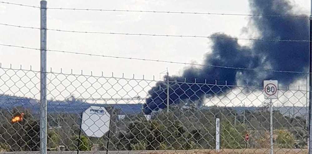 Smoke billows from the mine at North Goonyella