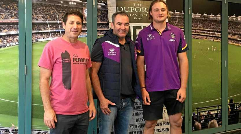 Ex-Collingwood player Carl Herbert and Melbourne Storm Academy player Ty James with Duporth Tavern Publican Clayton Williams.
