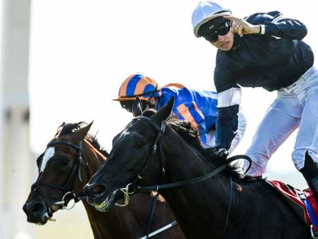 Latrobe (right), pictured winning the Irish Derby at the Curragh, is yet to be confirmed as a passenger bound for Melbourne. Picture: Getty Images