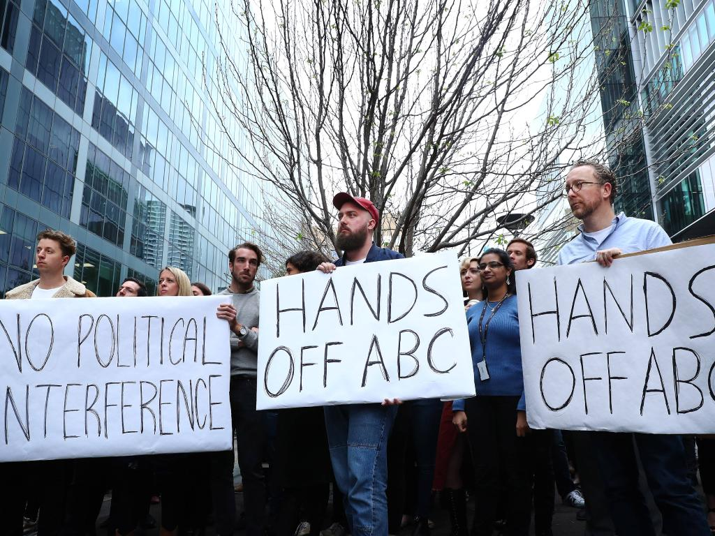 BC staff hold a meeting outside of the ABC in Sydney responding to a story that ABC Chairman Justine Milne was trying to get senior journalist Emma Alberici sacked. Picture:   John Feder