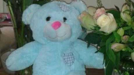 Laura Gallazzi keeps this teddy bear as a reminder of her son. Picture: Change.org