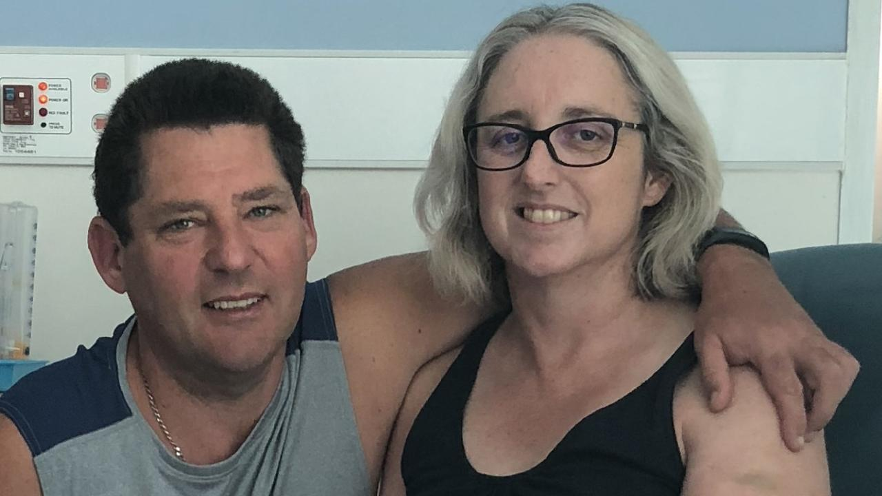 Shark attack victim Justine Barwick with her husband Craig in the RBWH. Picture: Supplied