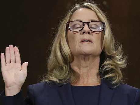 Christine Blasey Ford told the Senate committee that she was terrified to speak about her alleged sexual assault in public.  Picture:  AP