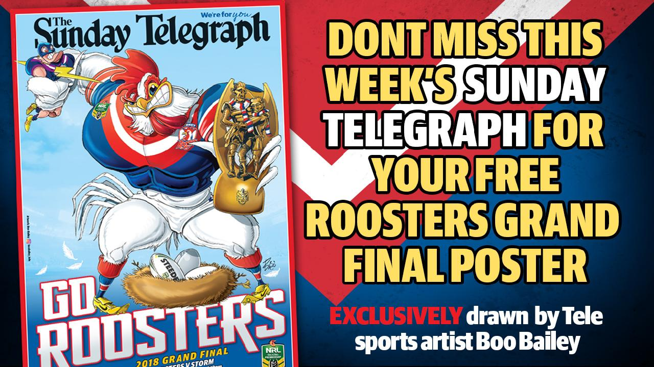 The Sydney Roosters' Sunday Telegraph poster. Art: Boo Bailey