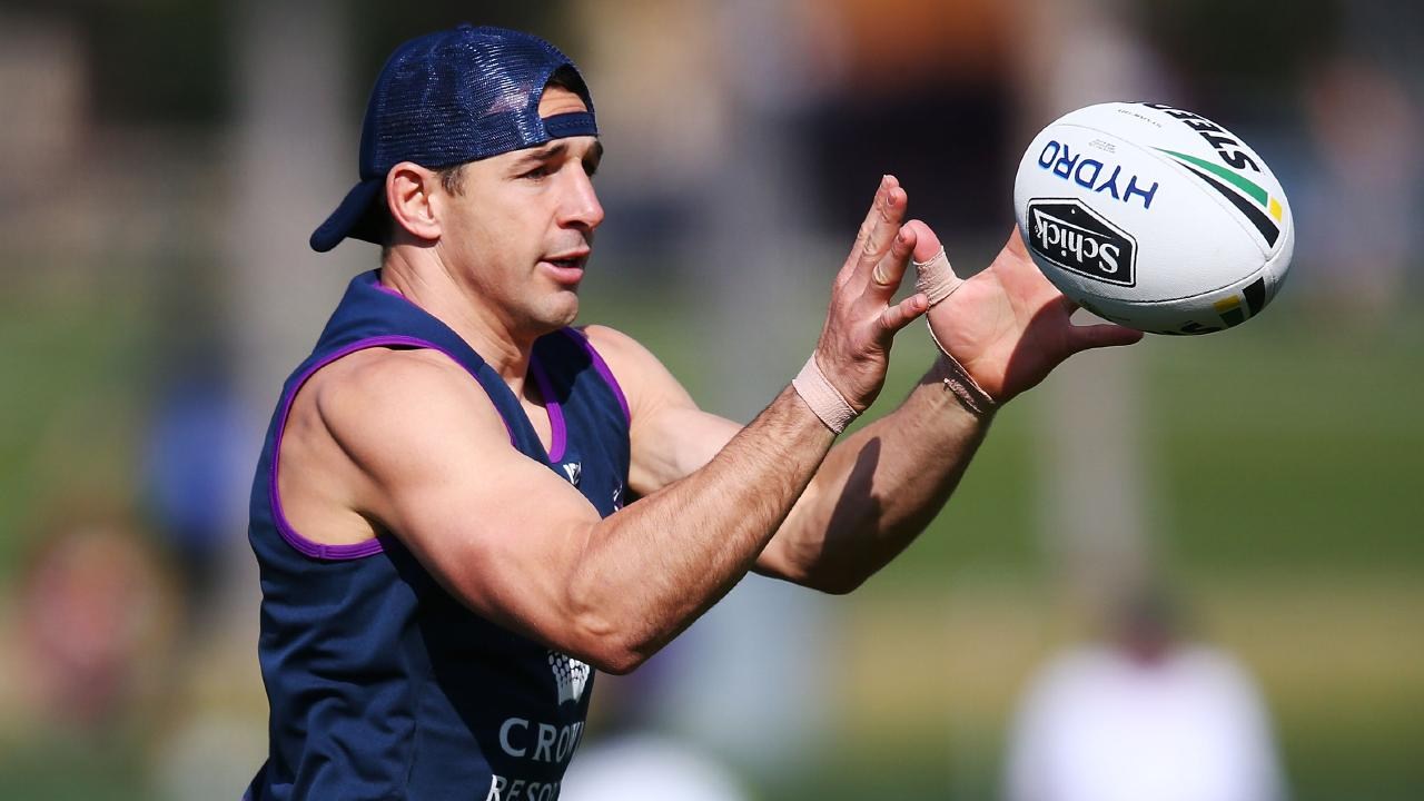 MELBOURNE, AUSTRALIA — SEPTEMBER 24: Billy Slater of the Storm runs with the ball during a Melbourne Storm NRL training session at Gosch's Paddock on September 24, 2018 in Melbourne, Australia. (Photo by Michael Dodge/Getty Images)