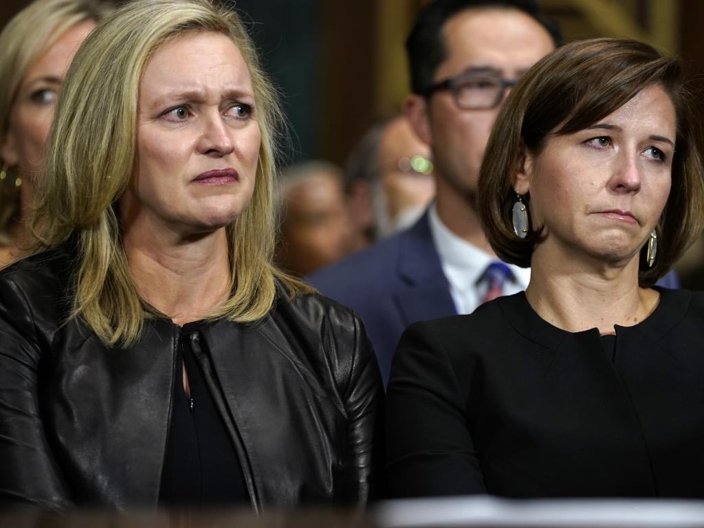 Ashley Estes Kavanaugh, right, wife of Supreme court nominee Brett Kavanaugh, listens as he testifies. Picture: AP