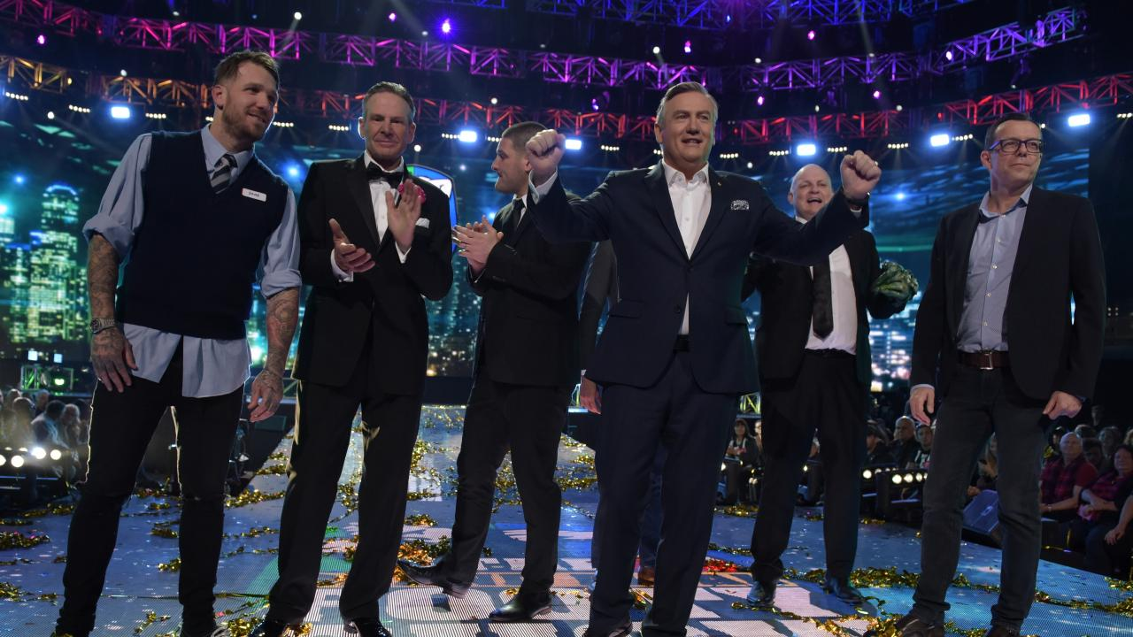 Dane Swan with Sam Newman, Brendan Fevola, Eddie McGuire, Billy Brownless, Damian Barrett on Thursday night's Grand Final Footy Show. Picture: Channel 9