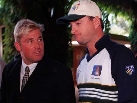 Shane Warne and Mark Waugh at the height of the bookie scandal in 1998.